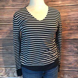 Gap Navy and White Striped V-Neck Sweater